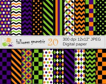 Halloween Geometric Digital Paper, Halloween Checks Stripes Chevrons Polka Dots, Purple Green Orange Black Digital Papers, Digital Download