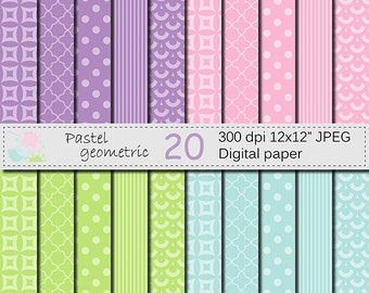SALE 50% Pastel Geometric Digital Paper Set, Pastel Digital Scrapbook papers, Pink, Purple, Blue, Green Digital Papers, Instant Download