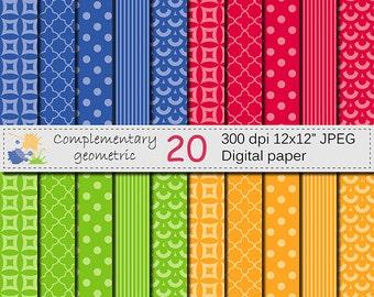 SALE 50% Complementary Geometric Digital Paper Set, Blue, Red, Orange, Green Digital Papers, Instant Digital Download