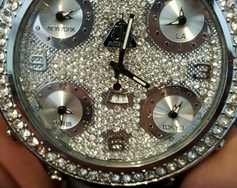 Beautiful Custom Diamond Watch With World Time Zones