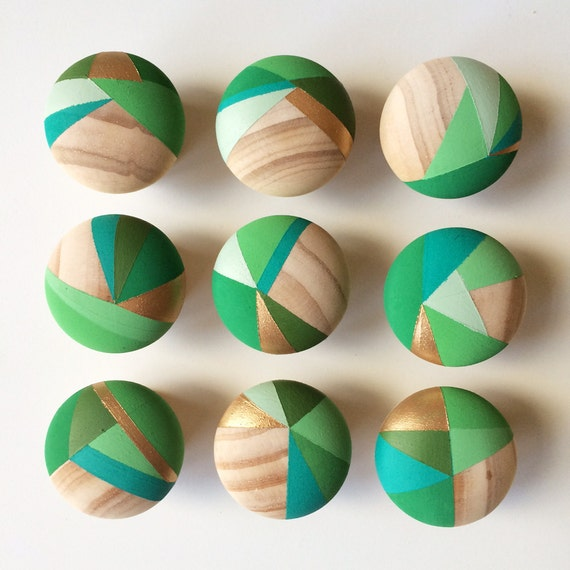 Apple. Bundle of 8 Hand painted green colourful door knobs