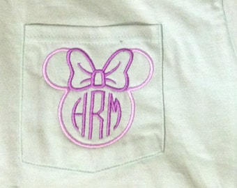 Comfort Colors long sleeve/short sleeve pocket t-shirt/ pocket tee with monogramed Minnie Mouse outline and Initials