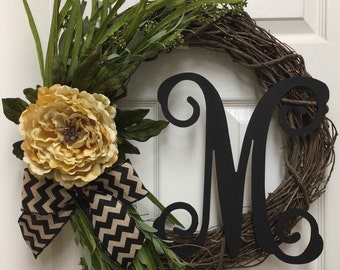 Wreath, Personalized Wreath, Grapevine Wreath, Monogram Wreath, Initial Wreath, Front Door Wreath, Wreath with Letter