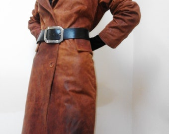 Long Brown Leather Coat, Genuine leather, Italian workmanship