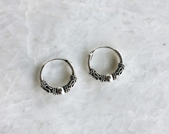 12mm Bali hoops with ball, Sterling silver Bali hoops, Balinese silver hoop earrings, Hoop with ball, Tribal hoops (H11)