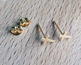 Gold cross ear studs, Gold cross earrings, Cross cartilage stud, Dainty gold cross earrings, Tiny gold cross ear studs (ES128)