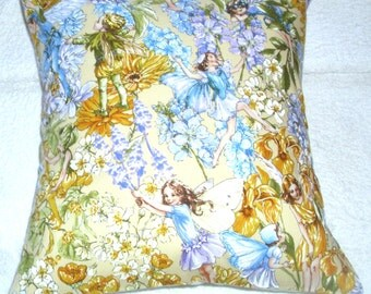 pretty yellow and blue Flower fairies cushion