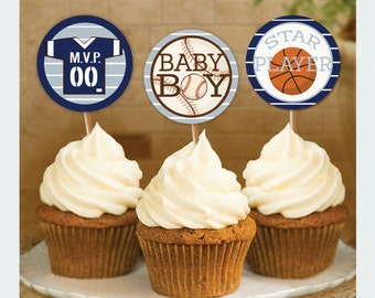 Sport Baby Shower, Sport Cupcake Toppers