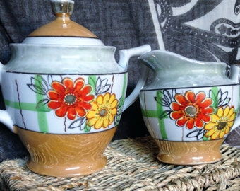 Vintage Luster ware creamer sugar set from Japan with orange red colors and flowers