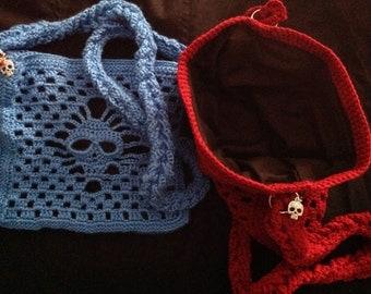 Crocheted Skull Purses