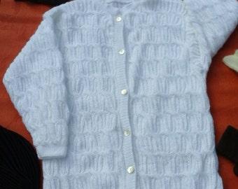 Coat a half season, fluffy, white fantasies points, size 40-42