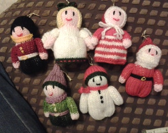 hand knit christmas decorations x 6