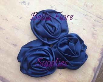 Navy Blue Satin Rolled Rosette Flowers, 3 inch