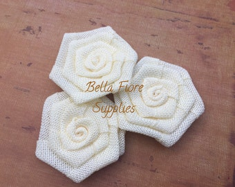 Ivory Burlap Rolled Rosette Flowers, 3 inches, Burlap Flowers, Wedding Supply, Burlap Rose
