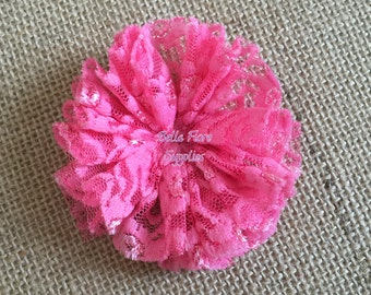 Hot Pink Lace Ballerina Flowers, Lace Flowers- 3 inch, Wholesale, DIY, Lace Headband