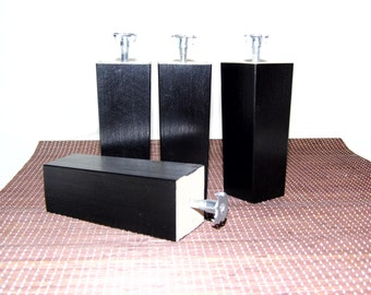 NEW 4 x black wooden furniture feet/ legs for sofa, chairs, stool etc...