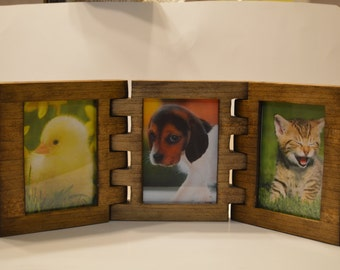 """Wooden Tri-Fold Picture Frame for 3 1/2""""x5 Photos In Your Choice of Three Different Colors- Made To Order"""