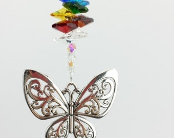 Chakra butterfly crystal suncatcher gift made with