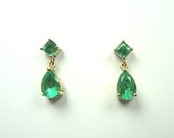 2.37 ct Colombian Emerald Earrings Set in 18K Gold