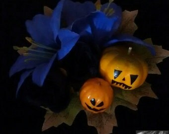 Glowing Jack-o'-Lantern Halloween Hair Flower -Pinup/Gothabilly/Psychobilly/Gore-