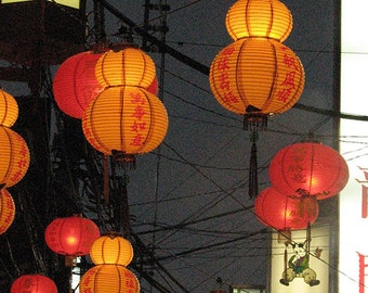 Lanterns and Wires urban night time street scene photograph