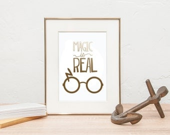 Harry Potter Gold Foil Print- Magic Is Real Gold Foil Print - Gold Foil Harry Potter - Harry Potter Scar Glasses - Gold Foil Wall Decor