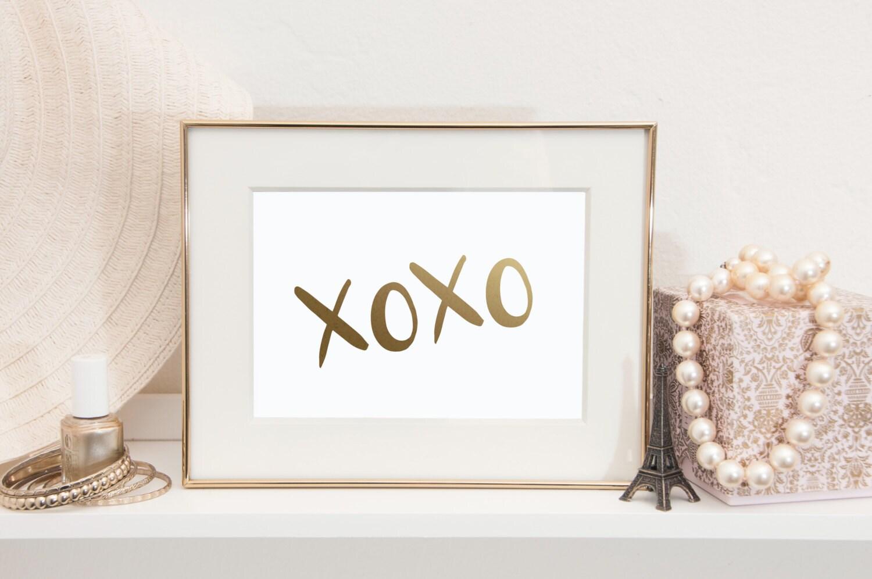 Xoxo Gold Foil Print Gold Foil Print Gold Foil Home Decor
