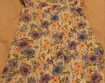 1970s empire waist, high neck floral cotton dress