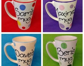 Personalised Spotty Latte Mugs - pink and purple