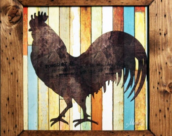 Rooster I, Farmhouse Decor, Country Decor, Farm Decor, 15x15, Rustic and Distresed Wood Frame, Rooster Decor,Chicken Decor, Rooster, Chicken