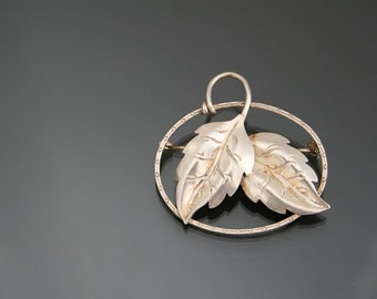 Art Deco Floral 900 Silver Brooch. Vintage Leaf Pin