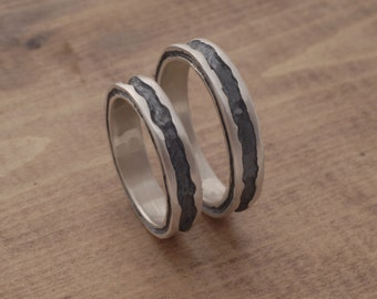 Oxidized Silver Wedding Bands, Alternative Wedding Band Set, Rustic Wedding Rings, Alternative Bridal Set of 2 RIngs, BE60