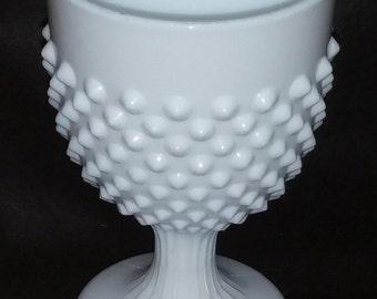 Gorgeous Vintage White Pointy Hobnail Pressed Milk Glass Goblet