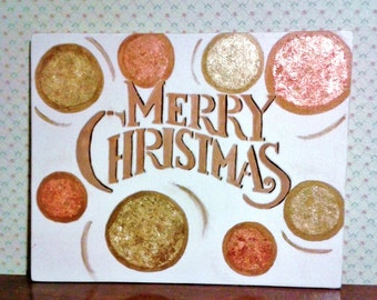 Merry Christmas, decorative wooden plaque, painted in tempera with gold and copper designs