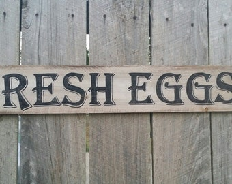 Fresh Eggs Sign, Rustic Wall Sign, Hand Painted Sign, Rustic Wall Art Farmhouse Kitchen Sign