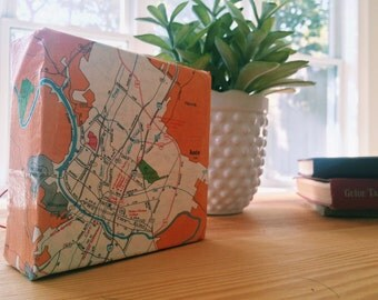 "Austin, TX 1970s vintage map on canvas.  4x4"" Desk Baby."