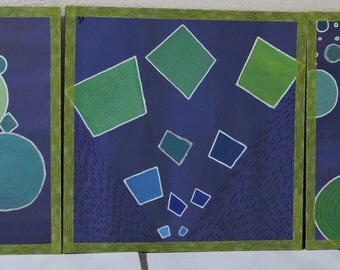 abstract geometry triptych