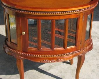 Cherry Curio Table with Beveled Glass