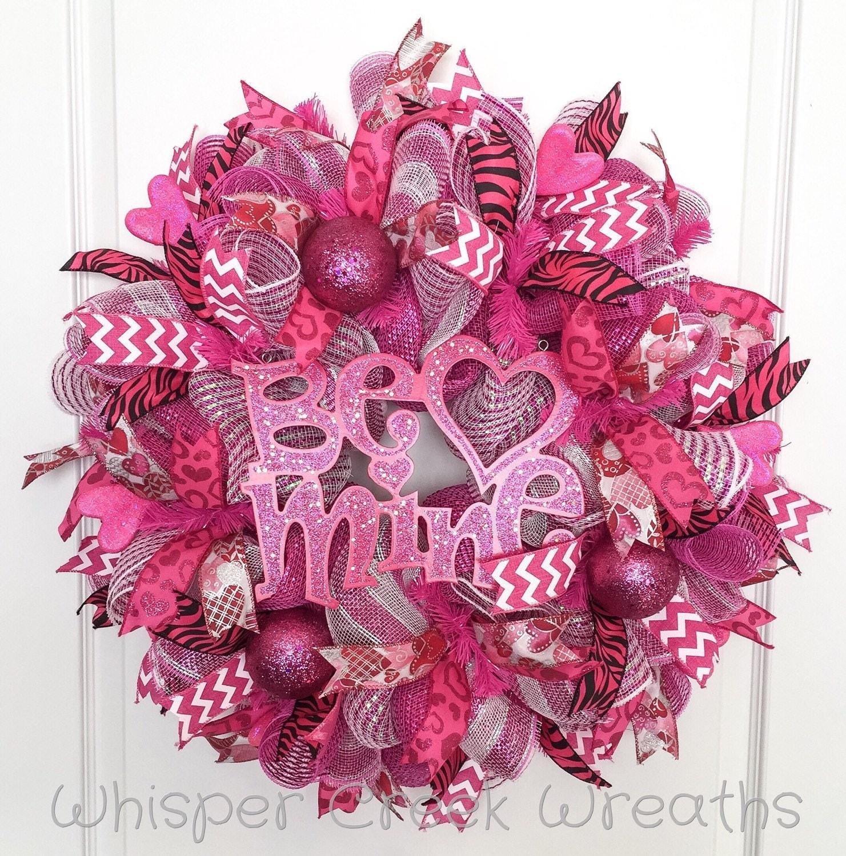 Valentines Day Deco Mesh Wreath Be Mine