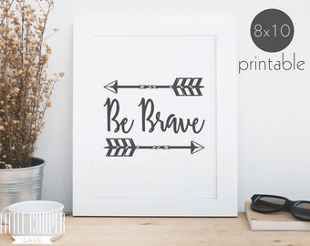 BE BRAVE | Boho Baby Nursery, Kids Room Wall Art | Instant PDF Download | Bohemian | Printable Art | Print Download | Nursery Prints _ID1384