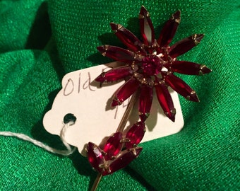 Vintage Red Flower Pin