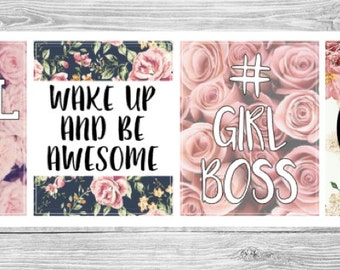 4 Floral Quote Stickers