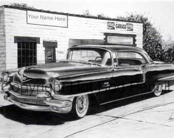 1956 Cadillac Coupe DeVille Fleetwood Customized Pencil Drawing Print FREE SHIPPING