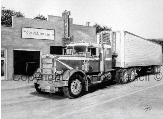 Semi Tractor Drawings : Peterbilt vintage semi customized pencil drawing print