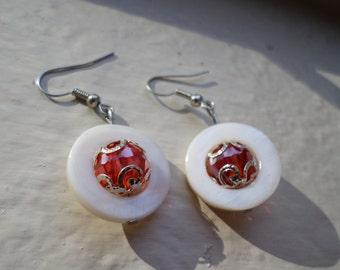 White Circular Beaded Drop Earrings