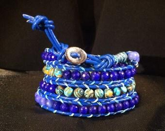 Blue Leather 4-Wrap Power Stone Beaded Wrap Bracelet