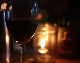 "Photograph ""Wine By Candlelight"", Wine, Vino, Candlelight, Home Decor, Wall Art"