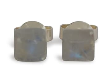 Moonstone earrings, of course, square, 5x5mm, 925 Silver