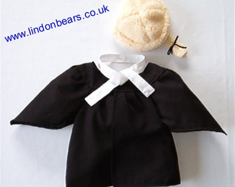 """New Lindonbear 3pce Barrister outfit  -fits teddybears 16""""/40cm tall. Made in England"""