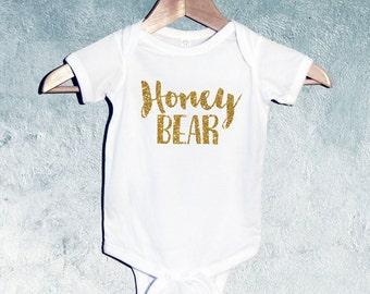 Honey Bear Bodysuit , T-shirts, Baby Shower Gift, Gift for Newborn Baby, Gift for Toddler, Gift for baby